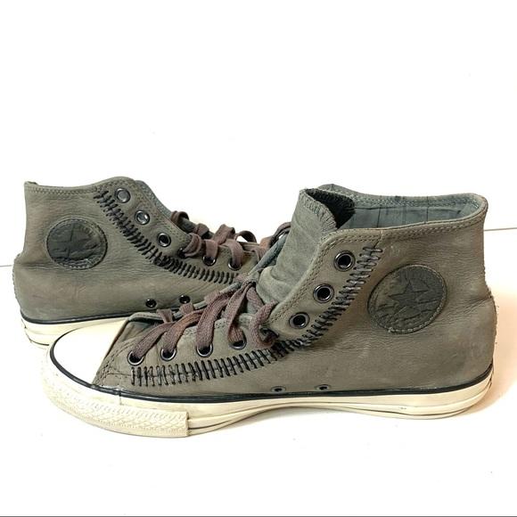 Converse John Varvatos Men Size 9.5 Mid Top Stitch Drill Leather Sneaker 150163C